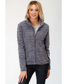 Roper Women's Blue Micro Fleece Jacket, Blue, hi-res