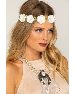 Shyanne Women's Small White Flower Wreath Headband, White, hi-res