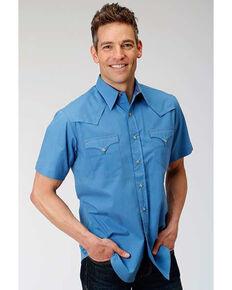 Roper West Made Men's Blue Solid Poplin Short Sleeve Western Shirt, Blue, hi-res