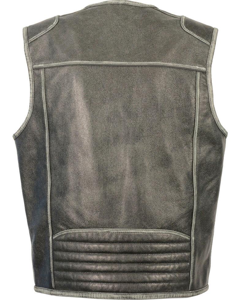 Milwaukee Leather Men's Vintage Distressed Zipper Front Vest - Big - 3X, Grey, hi-res