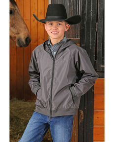 Cinch Boys' Hydrographic Print Windbreaker Zip-Up Jacket , Charcoal, hi-res