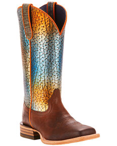 Ariat Women's Brown Gringa Rainbow Fish Print Boots - Square Toe , Brown, hi-res