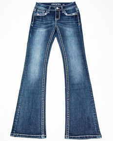 Grace in LA Girls' Decorative Bootcut Jeans , Blue, hi-res