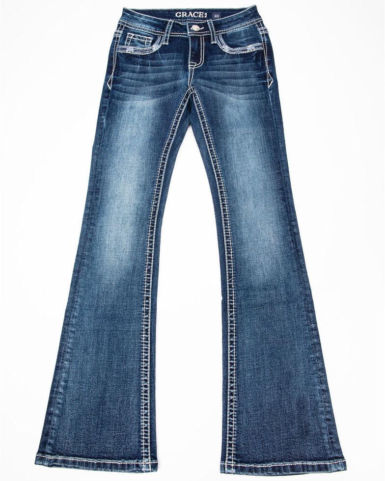 Grace in LA Girls' Decorative Bootcut Jeans , Blue, hi-res