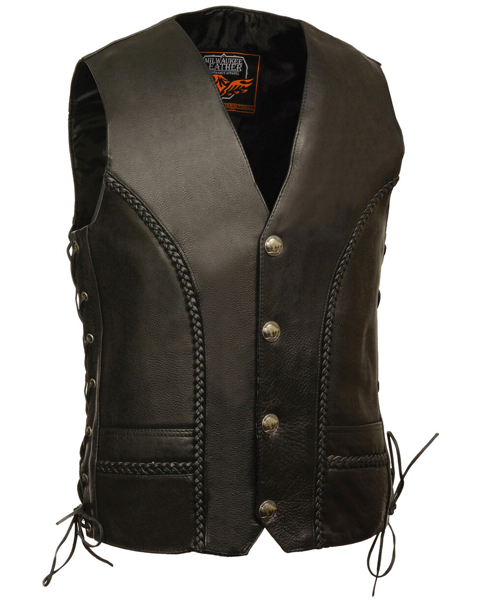 Milwaukee Leather Men's Buffalo Snap Braided Side Lace Vest - XBig, Black, hi-res