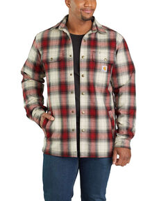 Carhartt Men's Red Hubbard Flannel Long Sleeve Work Shirt Jacket - Big , Dark Red, hi-res