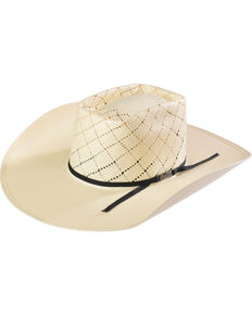 American Hat Co. 20 Star Patchwork Brick Oval Crown Straw Cowboy Hat, Ivory, hi-res