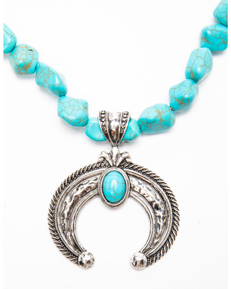 Shyanne Women's Moonlit Raw Turquoise Squash Blossom Necklace , Silver, hi-res