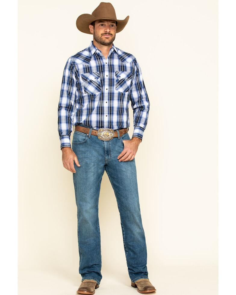 Ely Cattleman Men's Textured Med Dobby Plaid Long Sleeve Western Shirt , Blue, hi-res