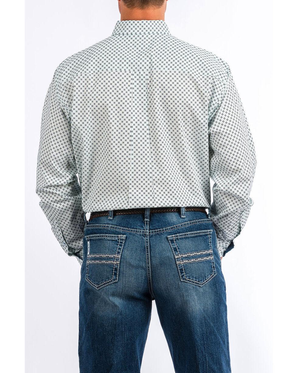 Cinch Men's White Geo Print Long Sleeve Western Shirt , Light Blue, hi-res