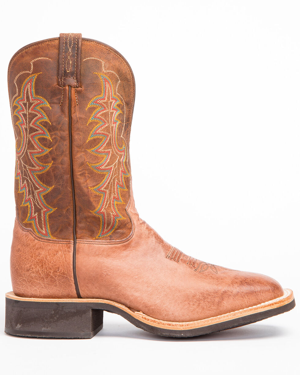Tony Lama Men's Smooth Ostrich Cowboy Crepe Western Boots, Dark Brown, hi-res