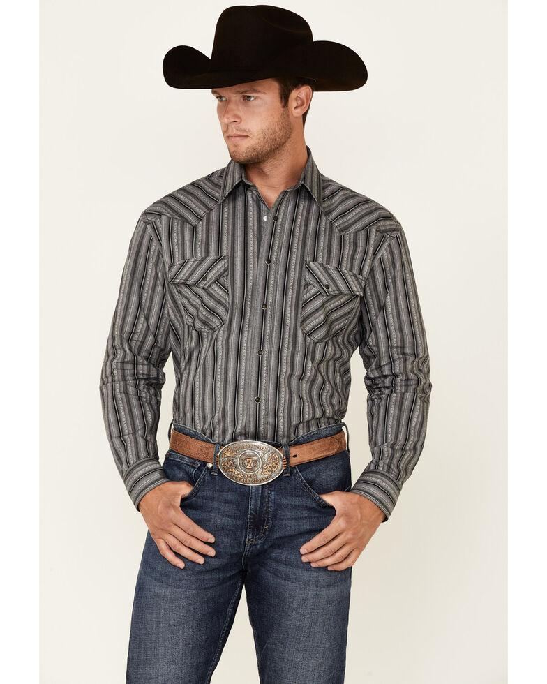 Rough Stock By Panhandle Men's Grey Ombre Stripe Long Sleeve Snap Western Shirt , Dark Grey, hi-res