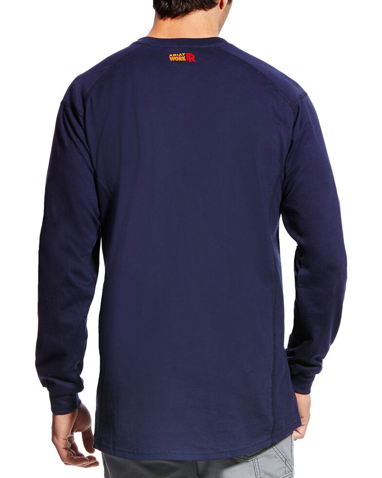 Ariat Men's FR Air Crew Long Sleeve Work Shirt - Tall, Navy, hi-res