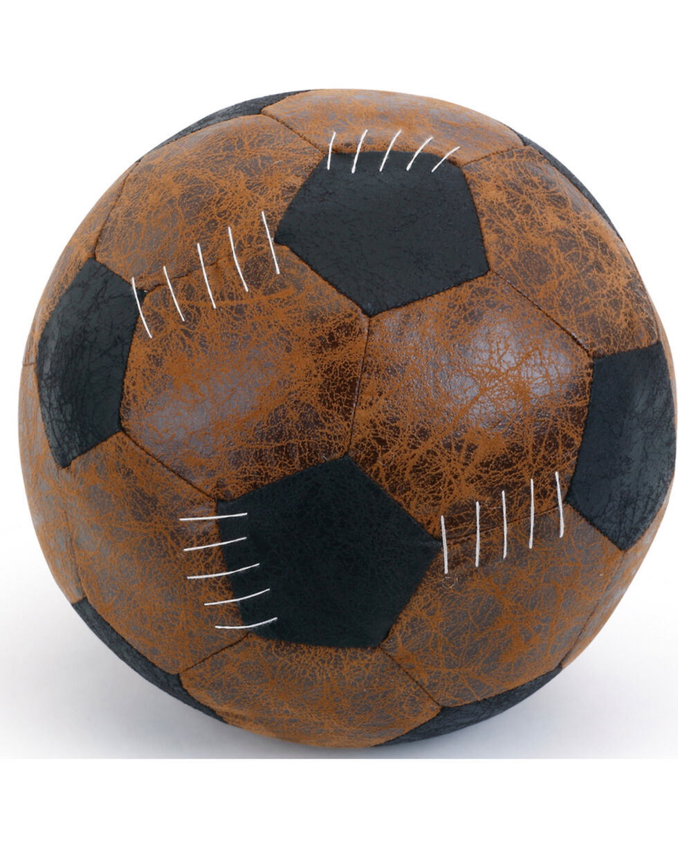 Demdaco Brown Faux Leather Soccer Ball Door Stopper , Brown, hi-res