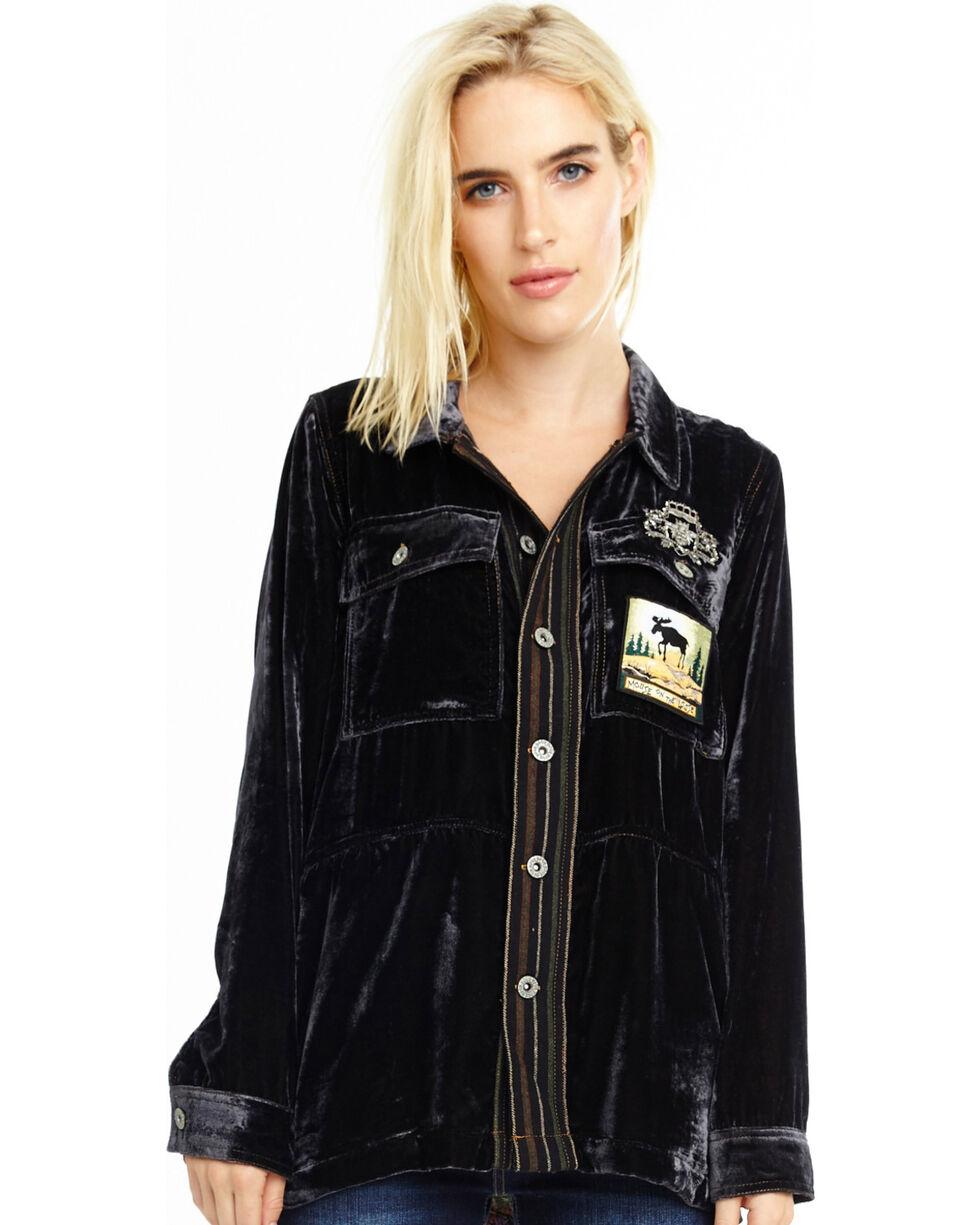 Aratta Women's Black Crazy Hearts Velvet Shirt Jacket, Black, hi-res