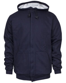 National Safety Apparel Men's Navy FR Heavyweight Lined Zip Front Hooded Work Sweatshirt - Big , Navy, hi-res