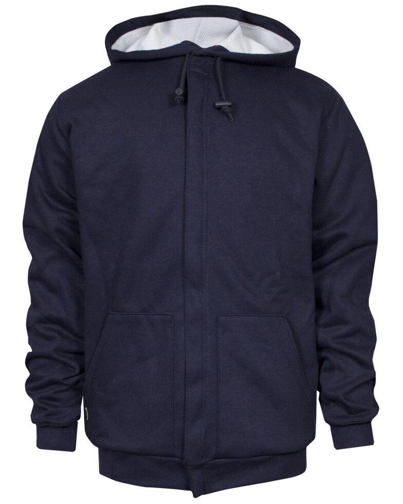 National Safety Apparel Men's Navy FR Heavyweight Lined Zip Front Hooded Work Sweatshirt - Big , Navy, hi-res