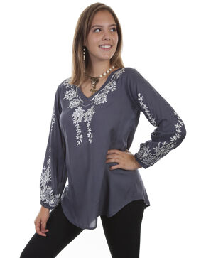 Honey Creek by Scully Women's Wedgewood Floral Embroidered Blouse, Blue, hi-res