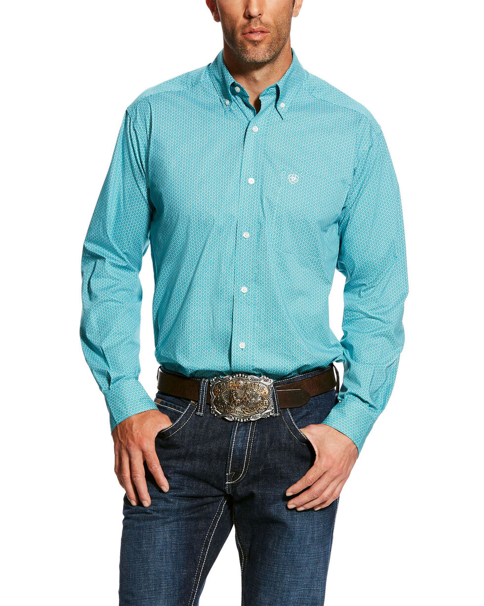 Ariat Men's Harlowe Stretch Geo Print Fitted Long Sleeve Western Shirt , Blue, hi-res