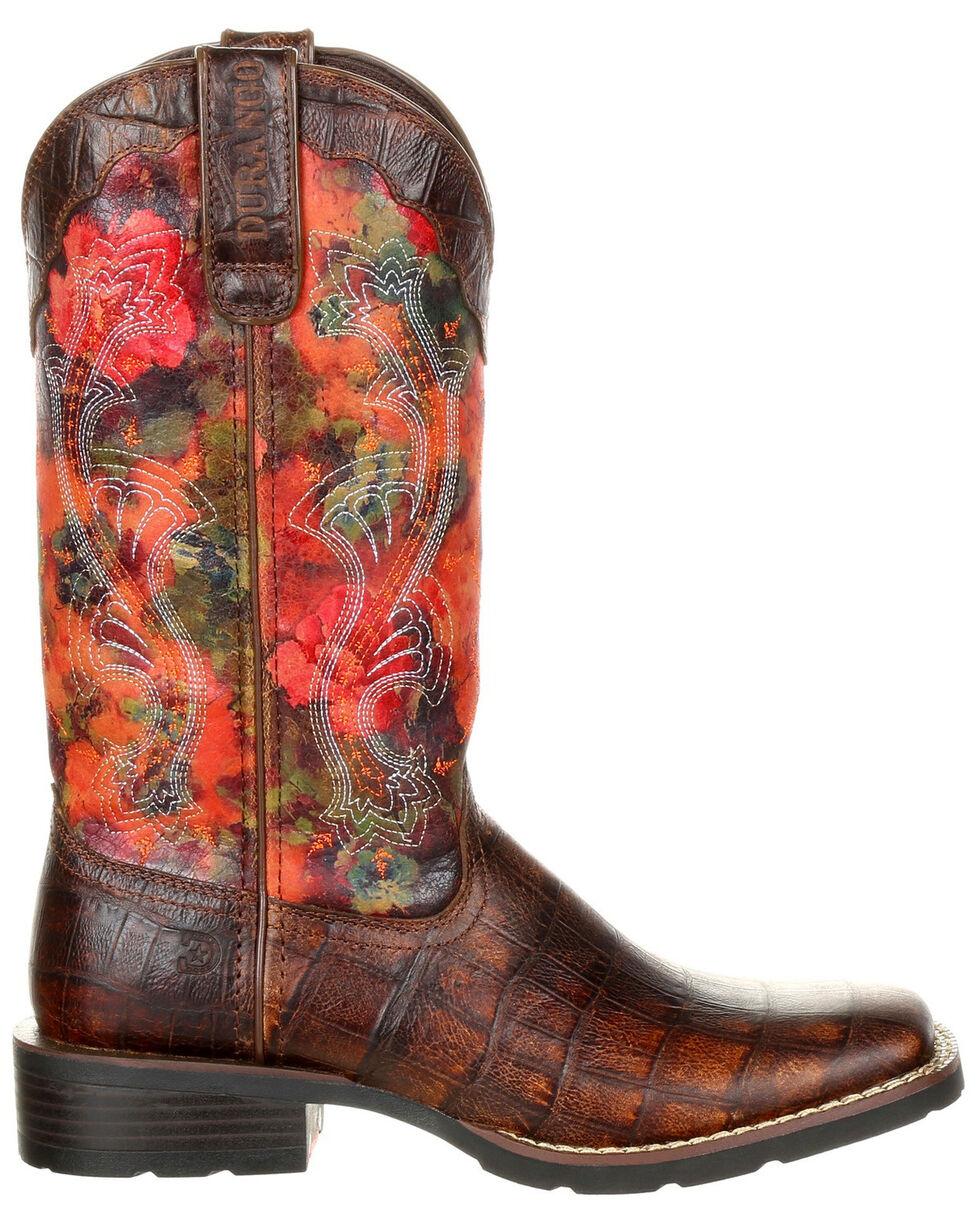 Durango Women's Mustang Faux Gator Western Boots - Square Toe, Multi, hi-res