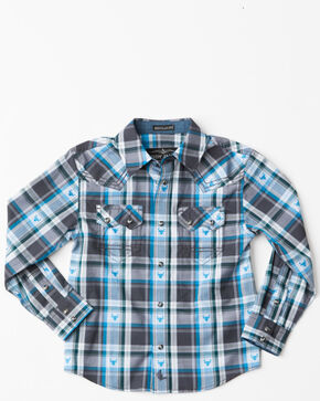 Cody James Toddler Boys' Bushwacker 2.0 Sawtooth Long Sleeve Western Shirt , Blue, hi-res