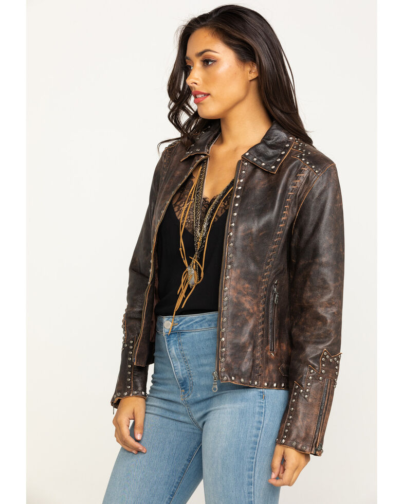 Cripple Creek Women's Studded Distressed Leather Jacket , Brown, hi-res