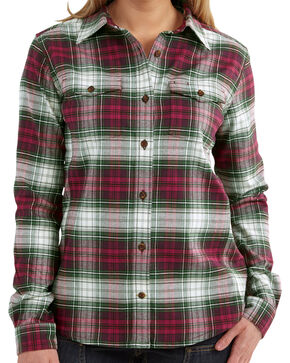 Carhartt Women's Plaid Button Down Flannel, Rasp Parade, hi-res