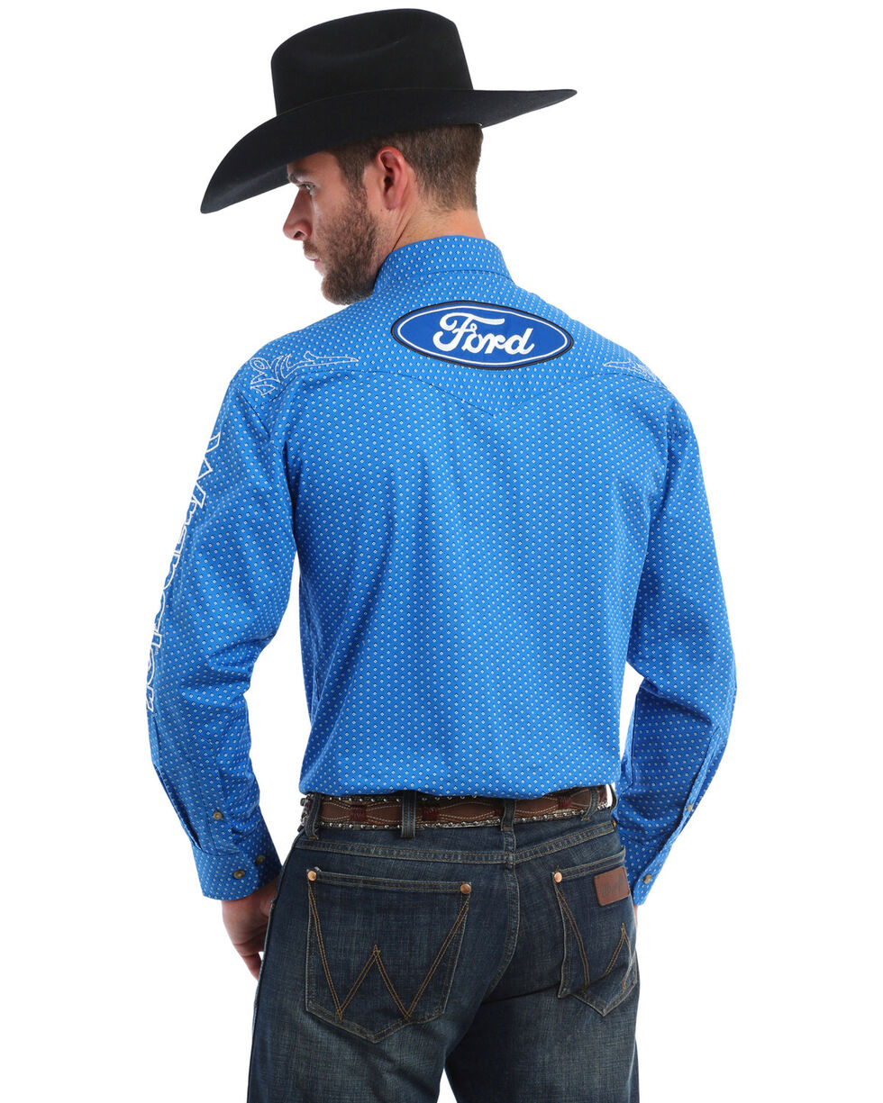 Wrangler Men's Ford Logo Long Sleeve Western Shirt, Black/blue, hi-res