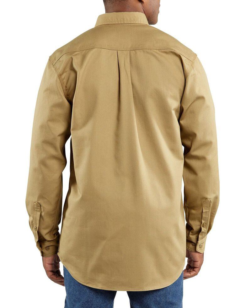 Carhartt Men's FR Solid Two-Pocket Long Sleeve Work Shirt, Khaki, hi-res