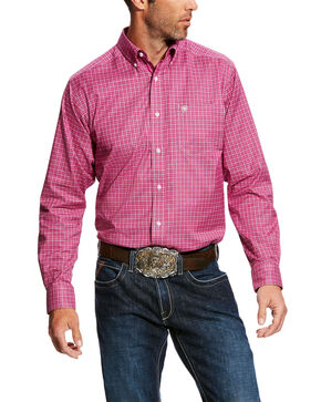 Ariat Men's Fallwell Stretch Plaid Long Sleeve Western Shirt , Wine, hi-res