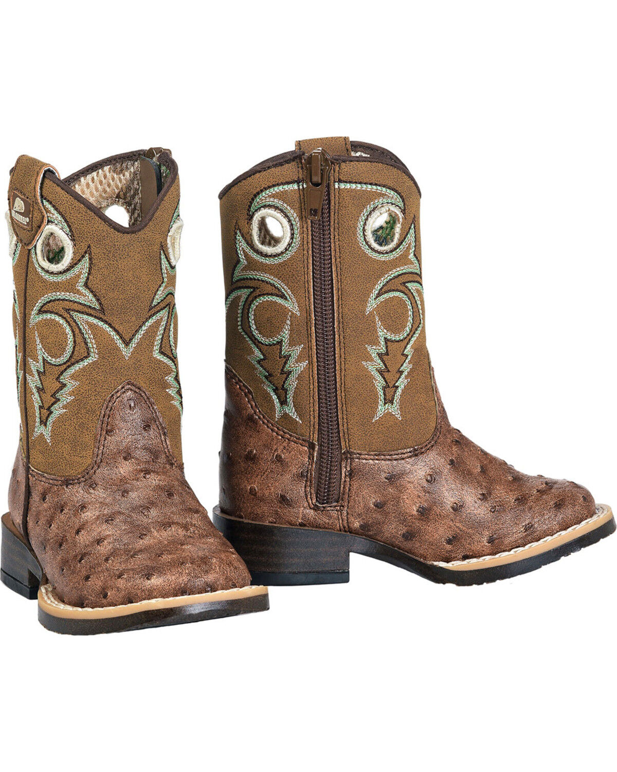 Double Barrel Boys Andy Cowboy Boot Square Toe Brown 3 US