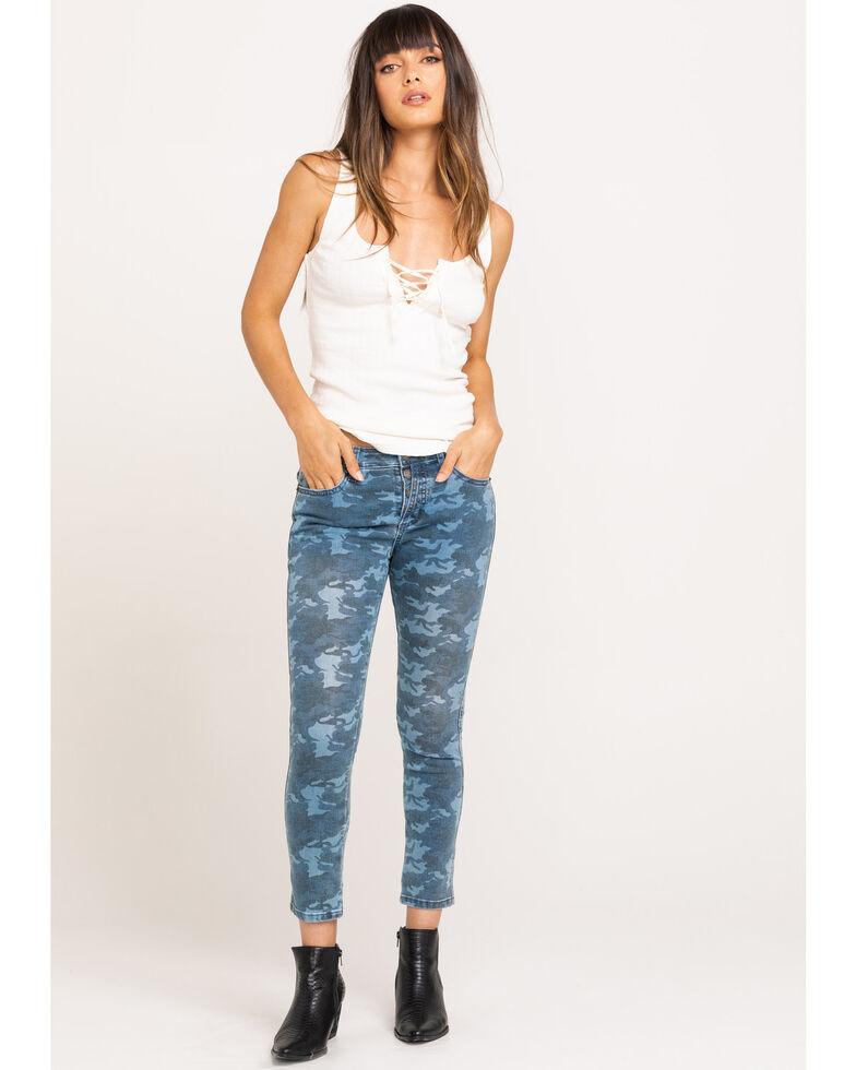 Miss Me Women's Camo Denim Jeans, Blue, hi-res
