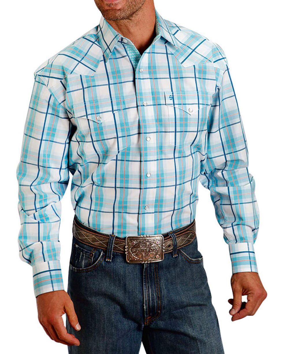 Stetson Men's Plaid Pattern Long Sleeve Shirt , Turquoise, hi-res