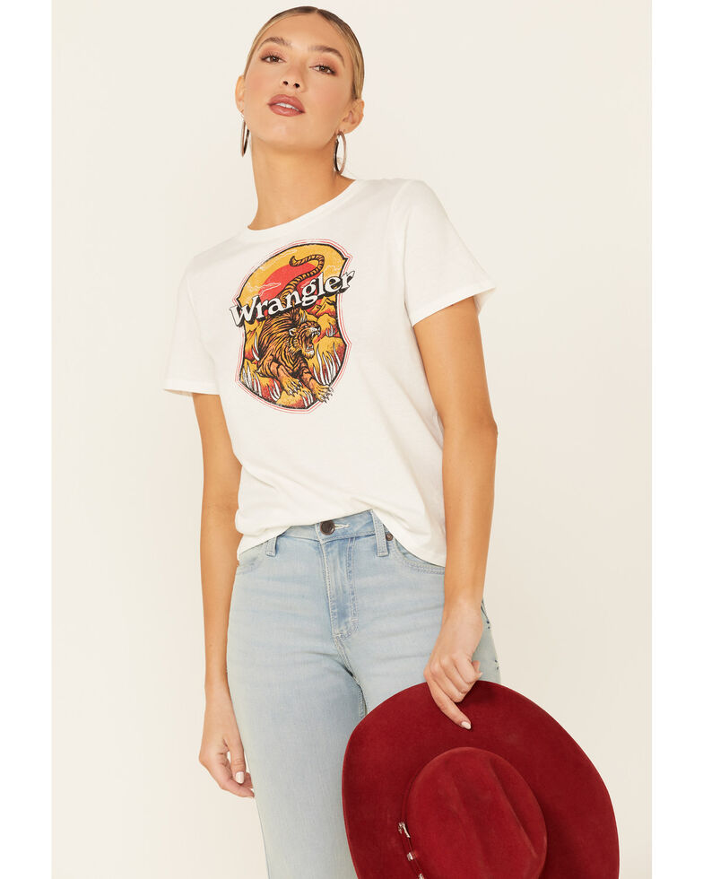 Wrangler Modern Women's Ivory Tiger Graphic Short Sleeve Tee , Ivory, hi-res