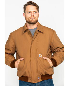 Carhartt Men's Flame-Resistant Duck Bomber Jacket, Carhartt Brown, hi-res