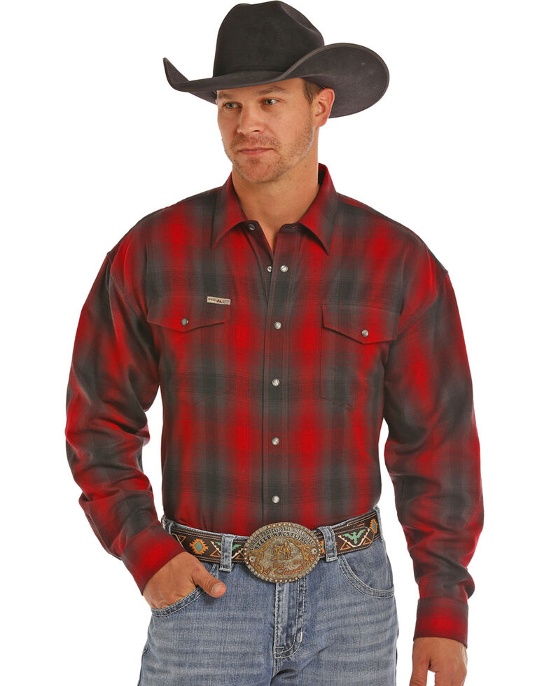 Powder River Men's Red Bandera Brushed Twill Plaid Western Shirt, Red, hi-res