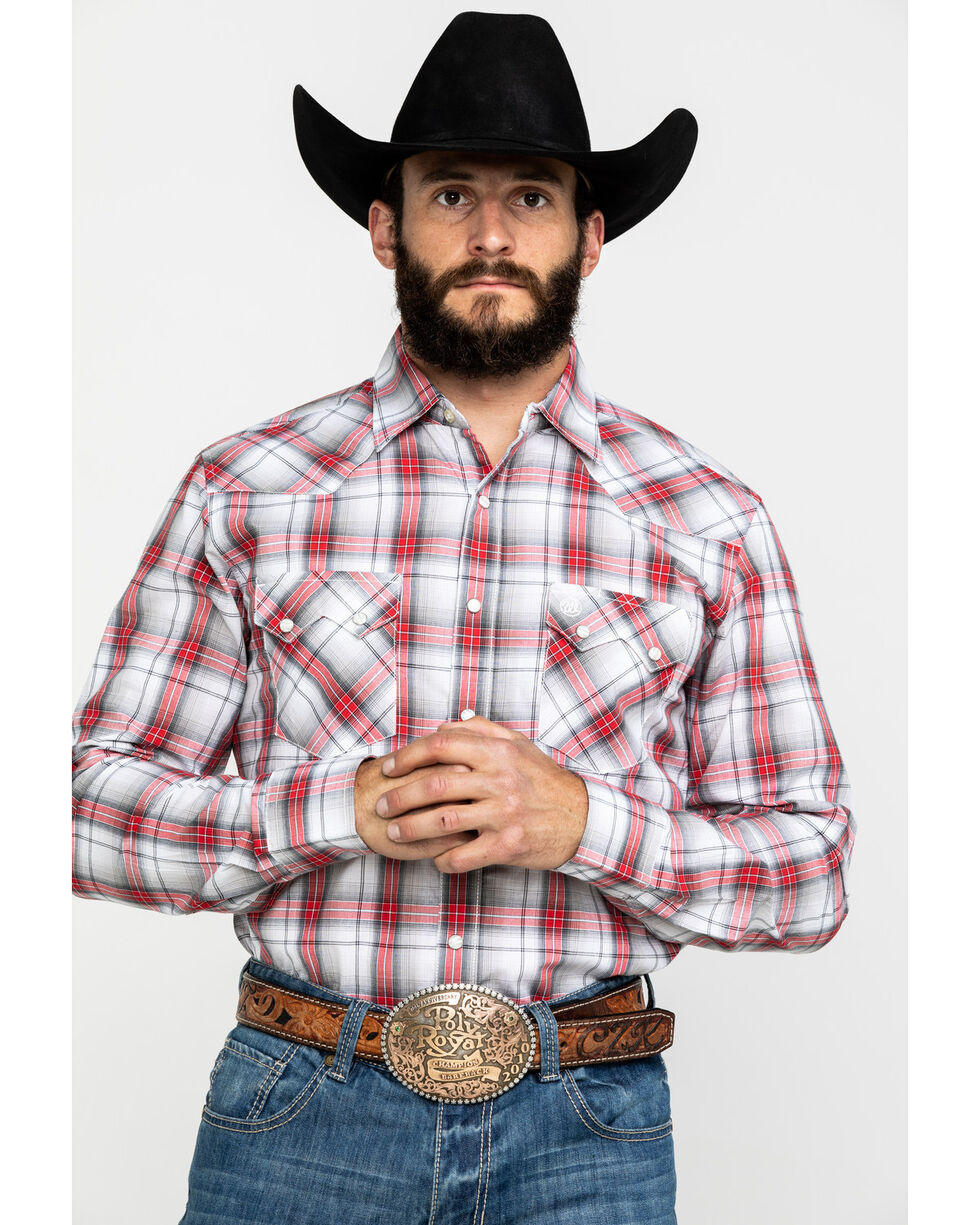 Wrangler Retro Men's Red Plaid Long Sleeve Western Shirt , White, hi-res