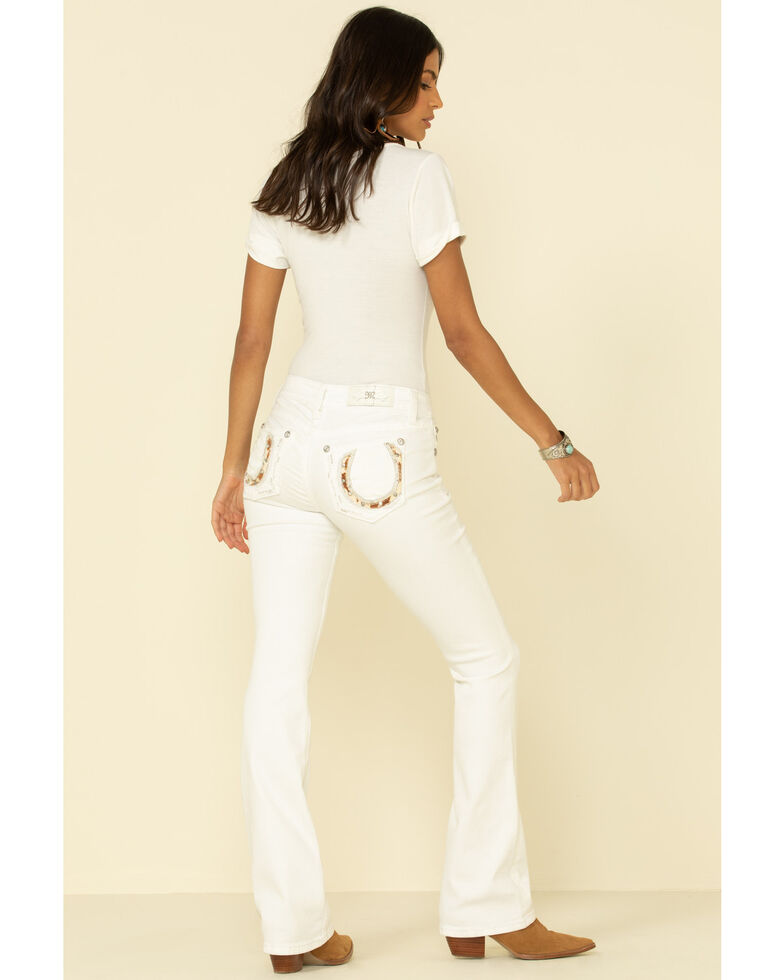 "Miss Me Women's White Mid-Rise Cowhide Horseshoe 34"" Chloe Bootcut Jeans , White, hi-res"