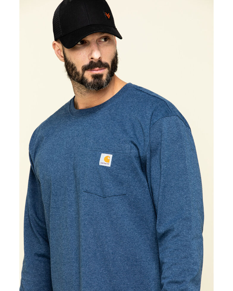 Carhartt Men's Solid Pocket Long Sleeve Work T-Shirt , Heather Blue, hi-res