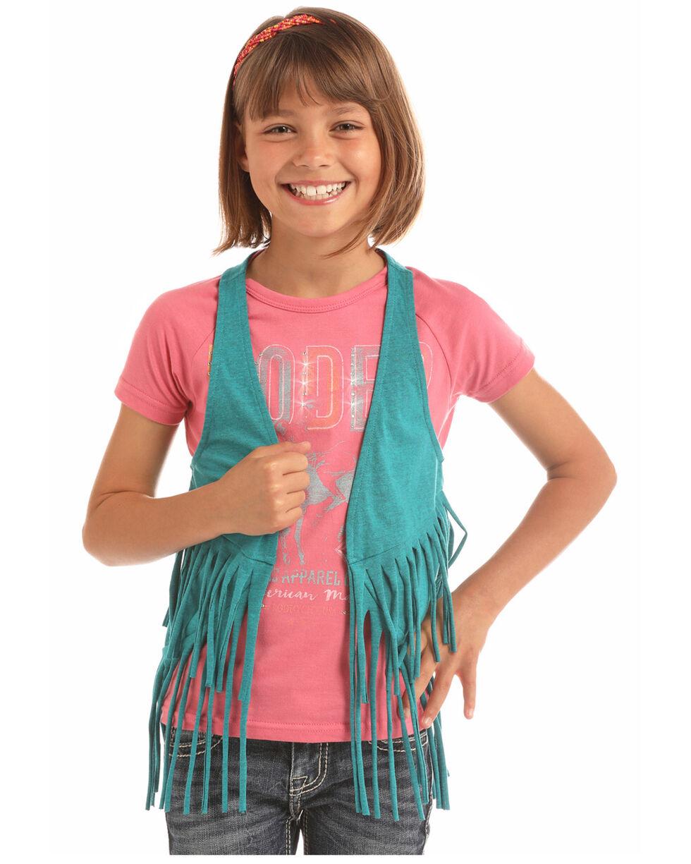 Rock & Roll Cowgirl Girls' Solid Fringe Vest , Turquoise, hi-res