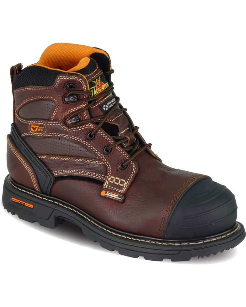 "Thorogood Men's 6"" Lace Up Waterproof Work Boot - Composite Toe, Brown, hi-res"