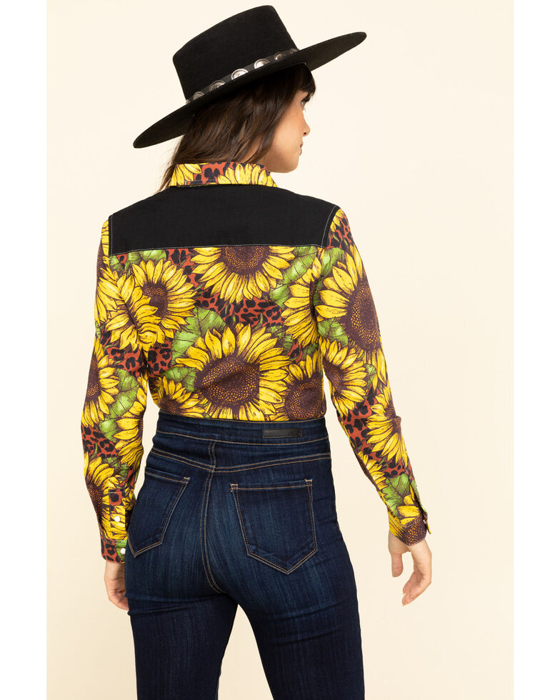 Ranch Dress'N Women's Sunflower Leopard Long Sleeve Western Shirt, Gold, hi-res