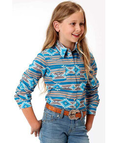 West Made Girls' Blue Aztec Snap Long Sleeve Western Shirt , Blue, hi-res