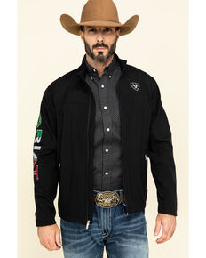 Ariat Men's Black Mexico New Team Softshell Jacket , Black, hi-res