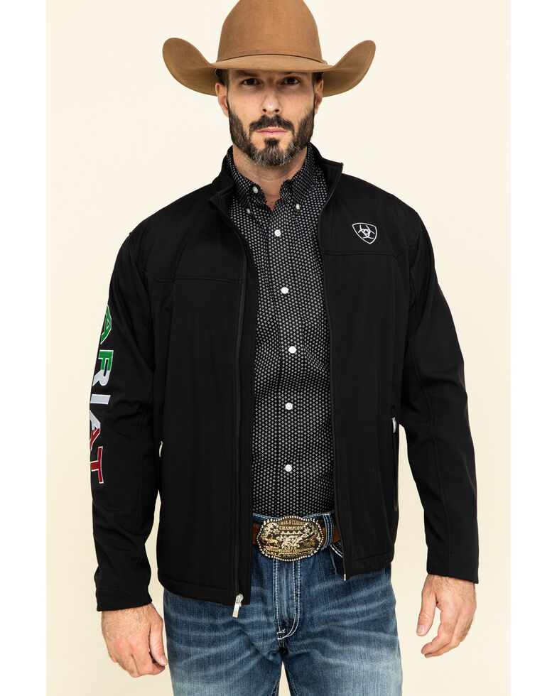 Ariat Men's Black Mexican Flag New Team Softshell Jacket , Black, hi-res