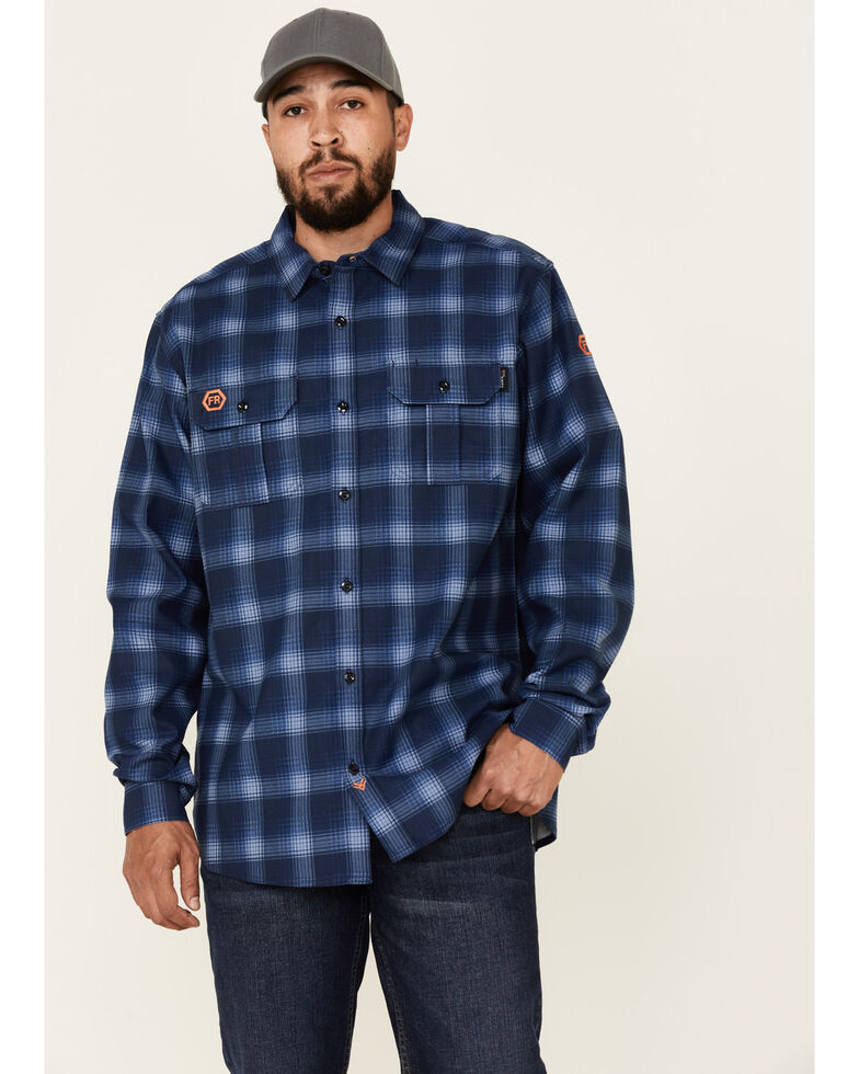 Hawx Men's FR Navy Woven Plaid Long Sleeve Button-Down Work Shirt , Navy, hi-res