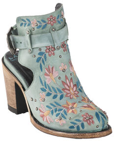 Lane Women's Floral Halfsie Fashion Booties - Round Toe, Turquoise, hi-res
