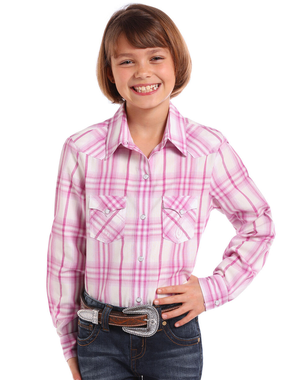 Panhandle Girls' Pink Ombre Plaid Long Sleeve Western Shirt , Pink, hi-res