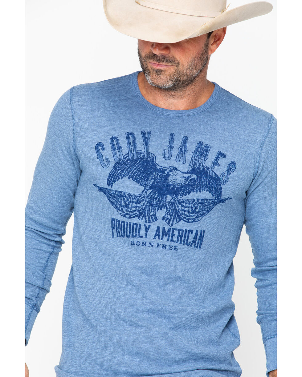 Cody James 2XL Men's Proud Eagle Graphic Long Sleeve Thermal Shirt , Blue, hi-res