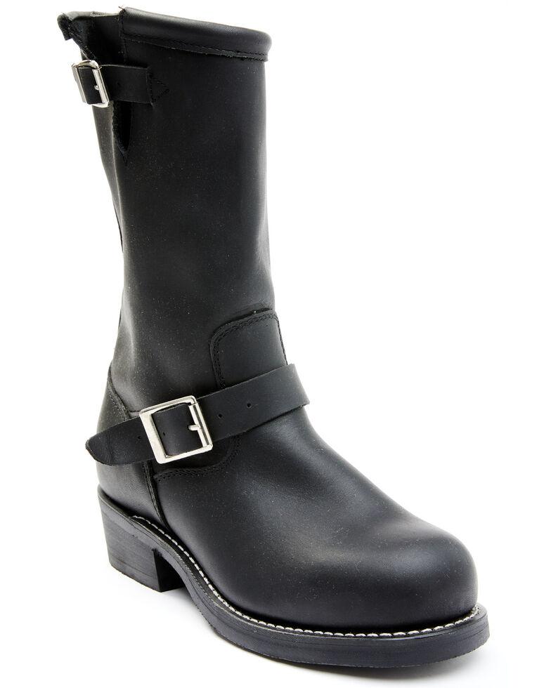 Cody James Men's Black Harness Moto Boots - Steel Toe, Black, hi-res